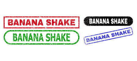 BANANA SHAKE grunge seal stamps. Flat vector grunge seal stamps with BANANA SHAKE text inside different rectangle and rounded forms, in blue, red, green, black color versions. Ilustración de vector