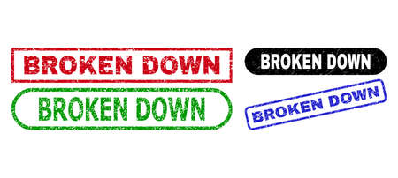 BROKEN DOWN grunge stamps. Flat vector scratched stamps with BROKEN DOWN title inside different rectangle and rounded shapes, in blue, red, green, black color versions.