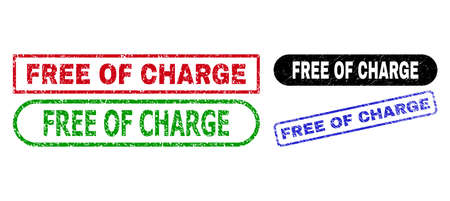 FREE OF CHARGE grunge seal stamps. Flat vector distress seal stamps with FREE OF CHARGE caption inside different rectangle and rounded shapes, in blue, red, green, black color variants.