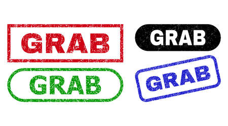 GRAB grunge seal stamps. Flat vector scratched seal stamps with GRAB caption inside different rectangle and rounded shapes, in blue, red, green, black color variants. Imprints with unclean surface.