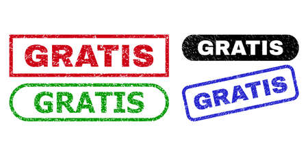 GRATIS grunge seal stamps. Flat vector grunge watermarks with GRATIS message inside different rectangle and rounded frames, in blue, red, green, black color versions. Watermarks with grunge texture.