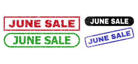 JUNE SALE grunge watermarks. Flat vector distress watermarks with JUNE SALE message inside different rectangle and rounded shapes, in blue, red, green, black color versions.