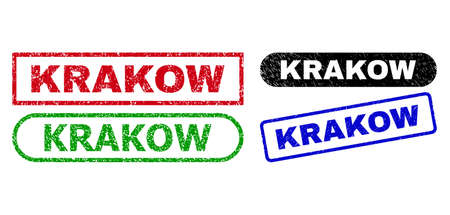 KRAKOW grunge seal stamps. Flat vector scratched seal stamps with KRAKOW caption inside different rectangle and rounded shapes, in blue, red, green, black color versions.