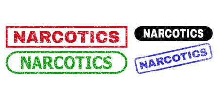 NARCOTICS grunge seal stamps. Flat vector grunge seal stamps with NARCOTICS text inside different rectangle and rounded forms, in blue, red, green, black color versions.