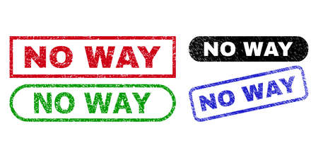 NO WAY grunge seal stamps. Flat vector grunge stamps with NO WAY phrase inside different rectangle and rounded forms, in blue, red, green, black color variants.