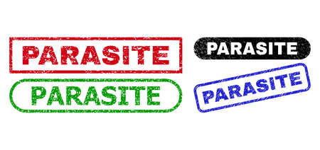 PARASITE grunge watermarks. Flat vector grunge seal stamps with PARASITE phrase inside different rectangle and rounded forms, in blue, red, green, black color variants.