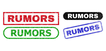 RUMORS grunge stamps. Flat vector grunge seal stamps with RUMORS caption inside different rectangle and rounded shapes, in blue, red, green, black color versions.