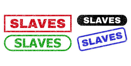 SLAVES grunge seal stamps. Flat vector distress seal stamps with SLAVES title inside different rectangle and rounded forms, in blue, red, green, black color variants. Imprints with grunge style.