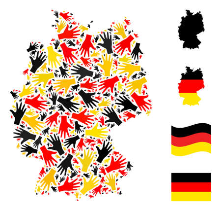 German state map mosaic in German flag official colors - red, yellow, black. Vector palm fingers pictograms are combined into mosaic Germany map composition.