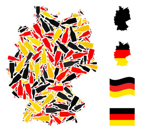 German geographic map mosaic in Germany flag official colors - red, yellow, black. Vector beer bottle design elements are combined into stylized German map illustration.