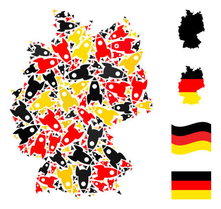 Germany state map mosaic in Germany flag official colors - red, yellow, black. Vector rocket elements are formed into conceptual German map mosaic.