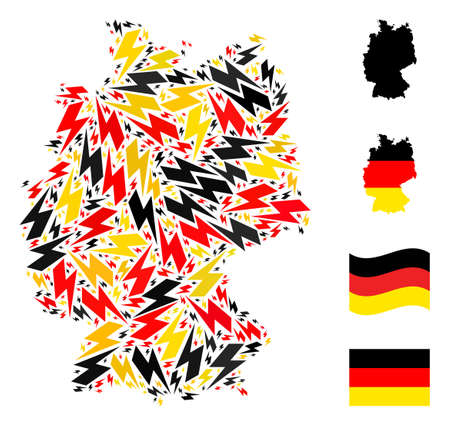 German map mosaic in German flag official colors - red, yellow, black. Vector flash items are formed into mosaic German map collage. Patriotic illustration designed with flat flash icons. Ilustração