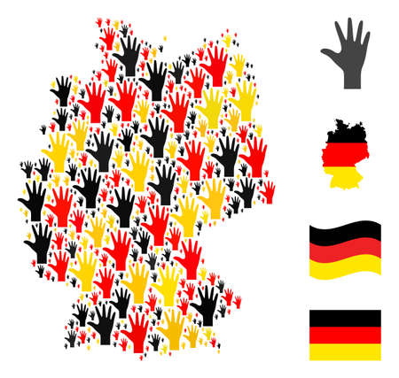 Germany geographic map mosaic in Germany flag official colors - red, yellow, black. Vector palm fingers design elements are arranged into mosaic German map mosaic.