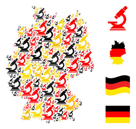 Germany state map mosaic in Germany flag official colors - red, yellow, black. Vector microscope pictograms are combined into mosaic Germany map abstraction.