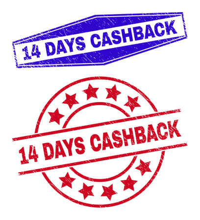 14 DAYS CASHBACK badges. Red circle and blue squeezed hexagon 14 DAYS CASHBACK seal stamps. Flat vector textured seal stamps with 14 DAYS CASHBACK phrase inside circle and flattened hexagon shapes.