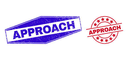 APPROACH badges. Red circle and blue stretched hexagon APPROACH watermarks. Flat vector grunge watermarks with APPROACH phrase inside round and flattened hexagon shapes. Watermarks with grunged style,