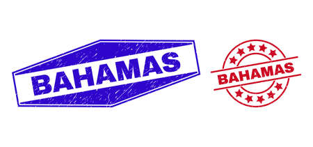 BAHAMAS badges. Red round and blue flatten hexagon BAHAMAS seal stamps. Flat vector scratched stamps with BAHAMAS phrase inside round and flatten hexagon shapes. Rubber imitations with corroded style,