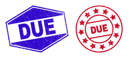 DUE badges. Red circle and blue compressed hexagonal DUE seal stamps. Flat vector distress seal stamps with DUE message inside round and compressed hexagonal shapes. Watermarks with distress style,