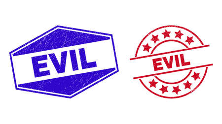 EVIL badges. Red rounded and blue stretched hexagonal EVIL rubber imprints. Flat vector scratched seals with EVIL phrase inside circle and squeezed hexagonal shapes. Vektoros illusztráció