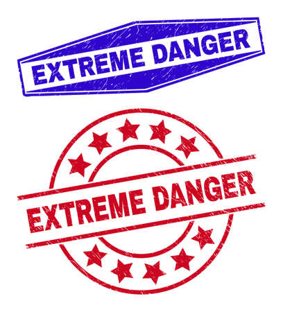 EXTREME DANGER badges. Red circle and blue expanded hexagon EXTREME DANGER watermarks. Flat vector distress watermarks with EXTREME DANGER title inside circle and expanded hexagonal shapes.
