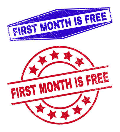 FIRST MONTH IS FREE stamps. Red circle and blue flatten hexagon FIRST MONTH IS FREE seals. Flat vector distress seal stamps with FIRST MONTH IS FREE phrase inside circle and expanded hexagon shapes.