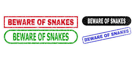 BEWARE OF SNAKES grunge seal stamps. Flat vector scratched seal stamps with BEWARE OF SNAKES caption inside different rectangle and rounded forms, in blue, red, green, black color versions.