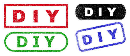 D I Y grunge seals. Flat vector grunge seals with D I Y tag inside different rectangle and rounded shapes, in blue, red, green, black color variants. Rubber imitations with grunge surface.