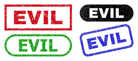 EVIL grunge seal stamps. Flat vector grunge seal stamps with EVIL text inside different rectangle and rounded forms, in blue, red, green, black color variants. Imprints with corroded style.