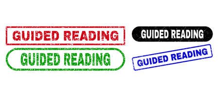 GUIDED READING grunge seal stamps. Flat vector grunge seals with GUIDED READING phrase inside different rectangle and rounded frames, in blue, red, green, black color versions.