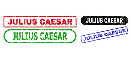 JULIUS CAESAR grunge stamps. Flat vector grunge seal stamps with JULIUS CAESAR phrase inside different rectangle and rounded shapes, in blue, red, green, black color variants.