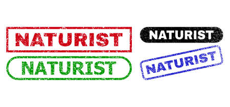 NATURIST grunge stamps. Flat vector grunge seal stamps with NATURIST caption inside different rectangle and rounded shapes, in blue, red, green, black color variants. Watermarks with distress texture.