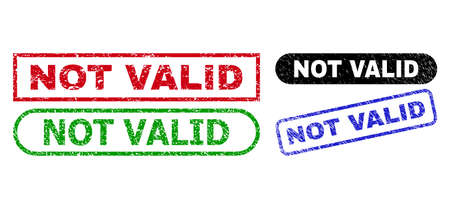 NOT VALID grunge seals. Flat vector grunge seals with NOT VALID text inside different rectangle and rounded forms, in blue, red, green, black color versions. Watermarks with grunge style.