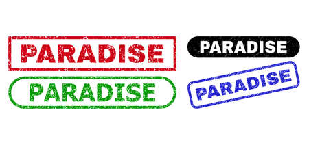 PARADISE grunge stamps. Flat vector grunge stamps with PARADISE phrase inside different rectangle and rounded frames, in blue, red, green, black color versions. Watermarks with grunged surface. Illusztráció