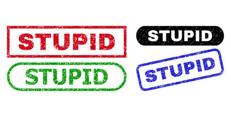 STUPID grunge stamps. Flat vector grunge seal stamps with STUPID message inside different rectangle and rounded forms, in blue, red, green, black color versions. Watermarks with unclean surface. Illustration