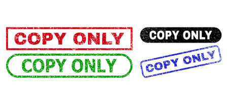 COPY ONLY grunge seal stamps. Flat vector textured seal stamps with COPY ONLY message inside different rectangle and rounded shapes, in blue, red, green, black color versions.