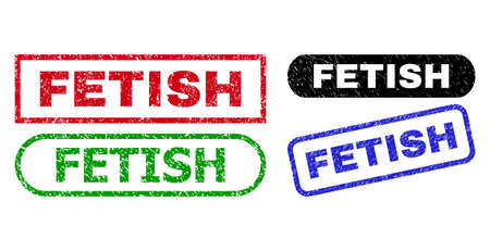 FETISH grunge seal stamps. Flat vector grunge stamps with FETISH message inside different rectangle and rounded shapes, in blue, red, green, black color variants. Imprints with grunged surface.