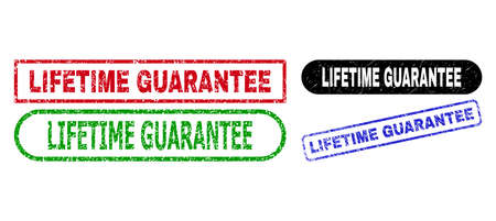 LIFETIME GUARANTEE grunge watermarks. Flat vector grunge seals with LIFETIME GUARANTEE caption inside different rectangle and rounded shapes, in blue, red, green, black color variants. Illustration