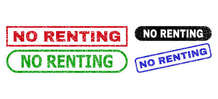 NO RENTING grunge seal stamps. Flat vector textured stamps with NO RENTING caption inside different rectangle and rounded frames, in blue, red, green, black color versions.