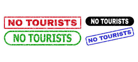 NO TOURISTS grunge seals. Flat vector grunge seals with NO TOURISTS title inside different rectangle and rounded forms, in blue, red, green, black color variants. Watermarks with corroded texture.