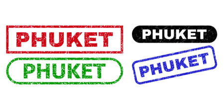 PHUKET grunge stamps. Flat vector distress stamps with PHUKET caption inside different rectangle and rounded forms, in blue, red, green, black color variants. Imprints with grunge style.