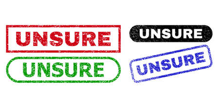 UNSURE grunge seal stamps. Flat vector textured seal stamps with UNSURE caption inside different rectangle and rounded shapes, in blue, red, green, black color versions. Imprints with grunged surface.