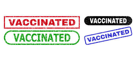 VACCINATED grunge seal stamps. Flat vector scratched seal stamps with VACCINATED text inside different rectangle and rounded forms, in blue, red, green, black color variants.