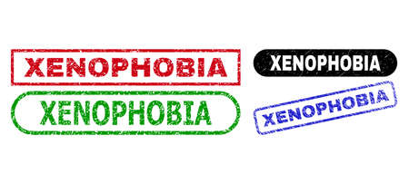 XENOPHOBIA grunge stamps. Flat vector grunge stamps with XENOPHOBIA phrase inside different rectangle and rounded forms, in blue, red, green, black color variants.