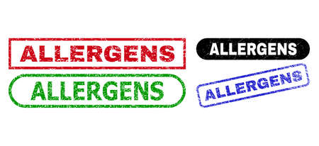 ALLERGENS grunge seal stamps. Flat vector distress seal stamps with ALLERGENS phrase inside different rectangle and rounded frames, in blue, red, green, black color variants.
