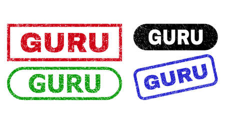 GURU grunge seal stamps. Flat vector grunge seal stamps with GURU caption inside different rectangle and rounded frames, in blue, red, green, black color variants. Imprints with scratched texture.