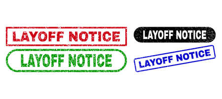 LAYOFF NOTICE grunge watermarks. Flat vector grunge watermarks with LAYOFF NOTICE text inside different rectangle and rounded forms, in blue, red, green, black color versions.
