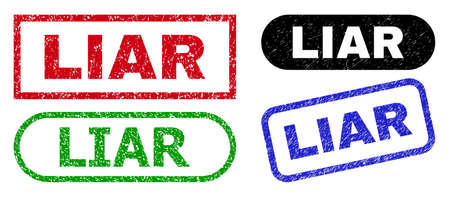 LIAR grunge watermarks. Flat vector grunge watermarks with LIAR text inside different rectangle and rounded forms, in blue, red, green, black color variants. Imprints with grunge texture.