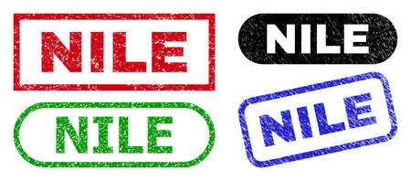 NILE grunge seal stamps. Flat vector distress seal stamps with NILE title inside different rectangle and rounded forms, in blue, red, green, black color variants. Imprints with grunge surface.