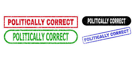 POLITICALLY CORRECT grunge stamps. Flat vector grunge seal stamps with POLITICALLY CORRECT tag inside different rectangle and rounded shapes, in blue, red, green, black color variants.