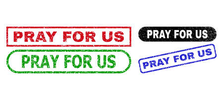 PRAY FOR US grunge watermarks. Flat vector grunge watermarks with PRAY FOR US message inside different rectangle and rounded shapes, in blue, red, green, black color versions.